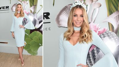 TV host, model, and Myer ambassador Jennifer Hawkins in a Daniel Avakian dress and Viktoria Novak headpiece. (AAP)