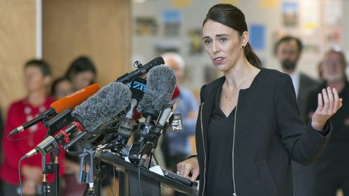 New Zealand Prime Minister Jacinda Ardern speaks to students at the Cashmere High School in Christchurch.