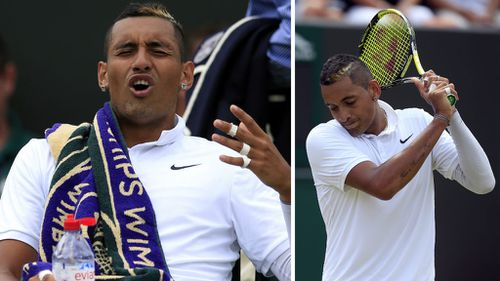 Nick Kyrgios reacts during his fourth-round loss at Wimbledon. (AAP)