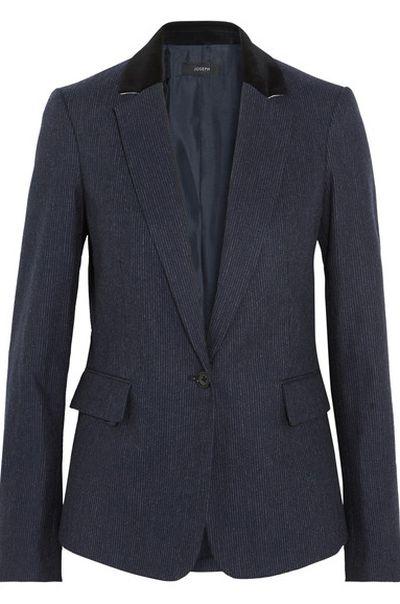 "Joseph striped blazer, approx. $797 at <a href=""https://www.net-a-porter.com/au/en/product/908484/Joseph/prisca-pinstriped-wool-blend-blazer"" target=""_blank"">Net-a-porter</a><br />"