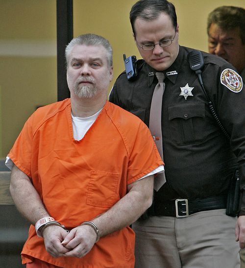 Steven Avery is escorted out of a Manitowoc County Courtroom after his arraignment in January 2006.