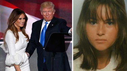 Melania Trump with husband Donald, alongside a photo from her younger fashion days. (AP)