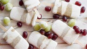 Roasted grape chia jam and coconut popsicles