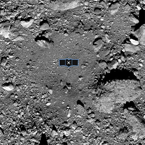 This image shows sample site Nightingale, OSIRIS-RExs primary sample collection site on asteroid Bennu. The image is overlaid with a graphic of the OSIRIS-REx spacecraft to illustrate the scale of the site. Credit: NASA/Goddard/University of Arizona