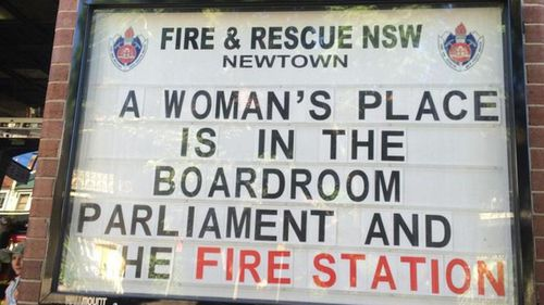 Newtown Fire Station expressed its support for women on International Women's Day. (Supplied)