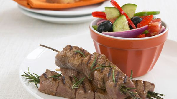 Rosemary kebabs with Greek salad