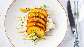 Grilled peaches, herbed ricotta, pistachio and honey