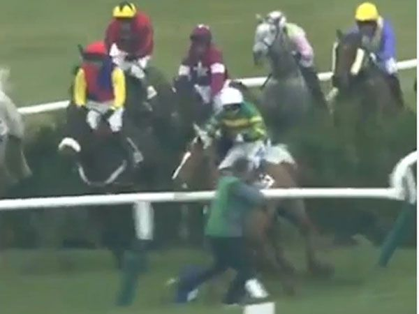 Steeplechase crash gives snapper a close call