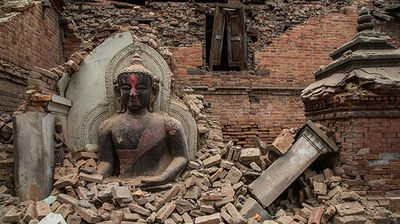 <p><b>Bhaktapur Dubar Square after</b></p><p>The streets of Bhaktapur Dubar Square were covered in fragments of religious sculptures but this Buddha statute managed to survive the earthquake.</p>