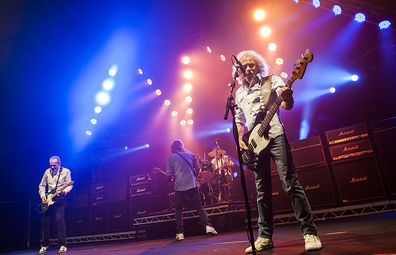 April 2014: Alan Lancaster performs with Status Quo at the Civic Hall in Wolverhampton, UK.