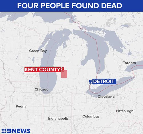Map showing the property in Kent County, Michigan where four people have reportedly been found shot dead.