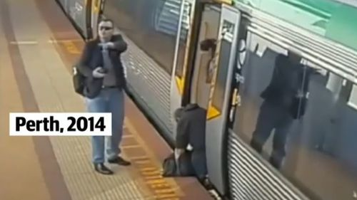 In 2014, a group of commuters rescued a trapped passenger by pushing against a train to free their trapped leg. Picture: 9NEWS