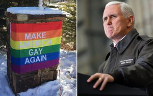 Mike Pence greeted by 'Make America Gay Again' banner