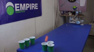 <p><b>Robot that plays beer pong </b></p><p> Empire Robotics have conquered the most noble field of human endeavour – beer pong. They've developed the Versaball robot, which can pick up a ping-pong ball and toss it into a cup at the other end of the table with alarming accuracy. </p><p> And unlike its human counterparts, the Versaball can't consume alcohol or get drunk. Touché, robots. Touché. </p><p> </p>
