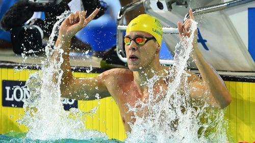 Mitch Larkin added the 50m backstroke title to his 100m win earlier in the Games. (Getty)