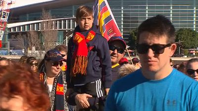 Fans young and old used today to pay respect to Phil Walsh. (9NEWS)