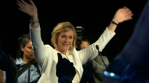 Zali Steggall claims victory in Warringah.