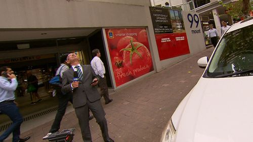 Look out! 9NEWS reporter Eddy Meyer was in the sights of a bird while filming. (9NEWS)