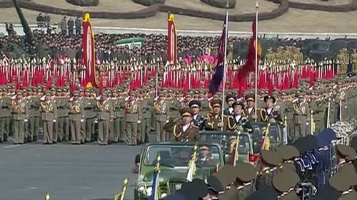 Soldiers march through Pyongyang. (AP).