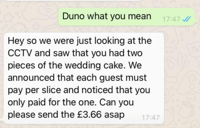 Message sent on Reddit wedding cake