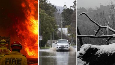 Fuego, inundación y nieve