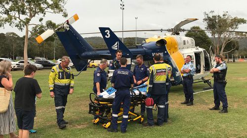 A boy has been airlifted to hospital after falling from a climbing wall in Gosford.