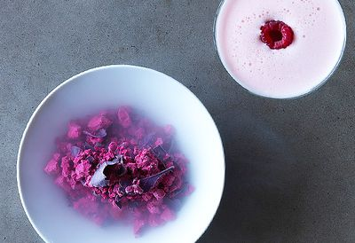 Red beets sorbet and Clover Club