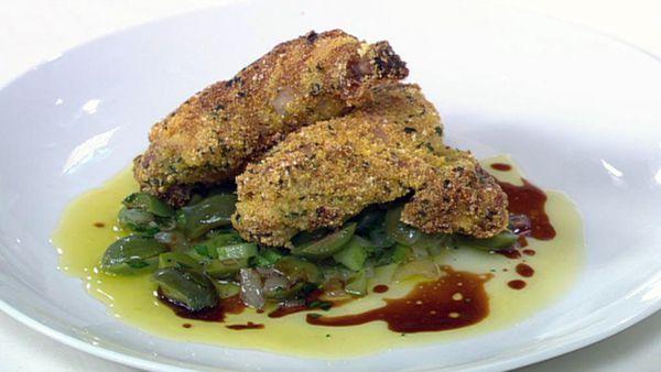Polenta crusted spatchcock with green olive & lemon salsa