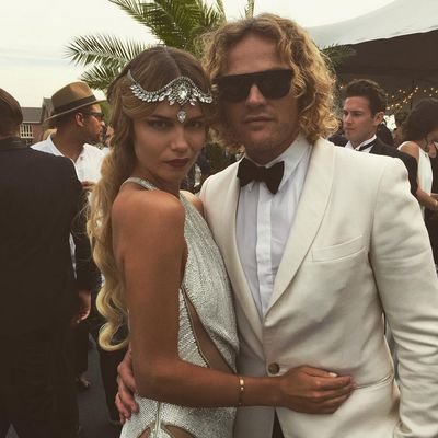 <p>Poly and with Roberto Cavalli creative director Peter Dundas.</p>