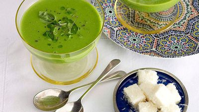 Green pea soup with Parmesan marshmallow