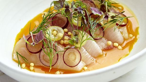 Papi Chulo's hiramasa kingfish sashimi with turmeric, grapes and dill