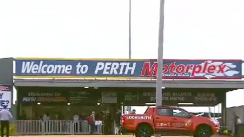The crash occured at the Perth Motorplex in Kwinana. (9NEWS)