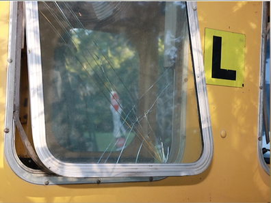 One of the windows on the train that were smashed in the crash.