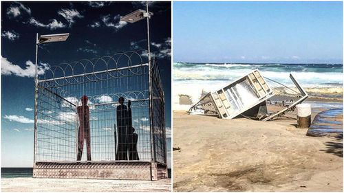 Several art exhbits, like 'Fair Dinkum Offshore Processing', have been damaged by high tides on Sydney's Tamarama Beach. (Instagram)