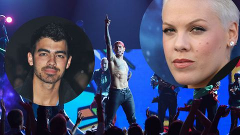 Chris is slammed by Pink and Joe Jonas