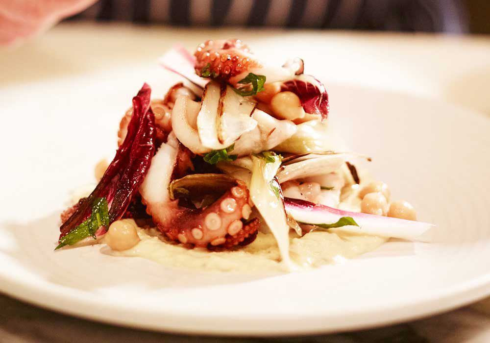 Ben Sitton's woodfired grilled baby octopus recipe for Uccello, Sydney