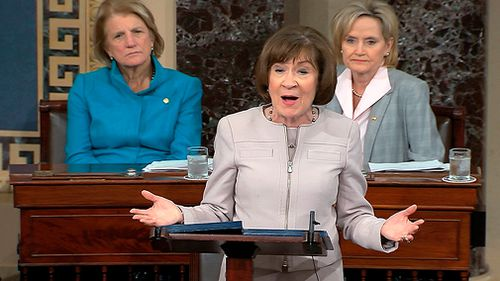 Maine Republican Sen Collins announced her decision today in a Senate speech that was disrupted by protesters before it even began and met with applause when it ended.