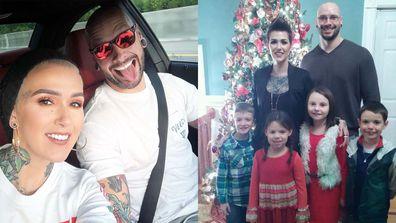 Split image - left - Mel Thompson with husband Puffin. Right - Mel and Puffin Thompson with their four children.