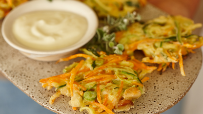 Macadamia and vegetable fritters.