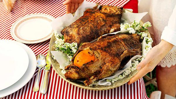 Spice-rubbed goose with apple stuffing