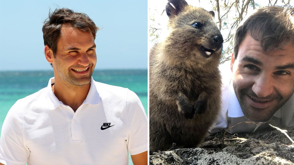 Roger Federer snaps selfie with quokka after arriving in Perth for Australian summer of tennis