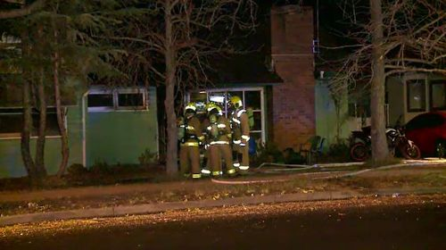 A young family managed to escape their Doonside home, in Sydney's west, this morning when a fire tore through the building. Picture: 9NEWS.