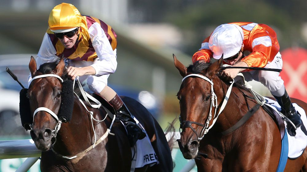 Hugh Bowman rides Preferment (l) to victory at Rosehill. (AAP)