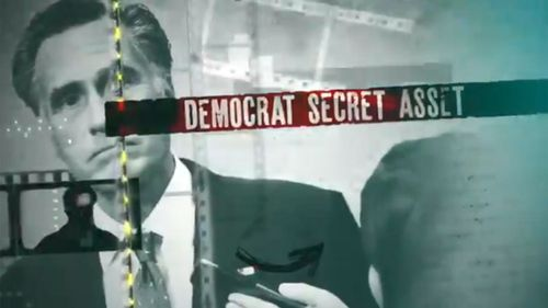 The attack ad accuses Mitt Romney of being a Democrat secret asset.