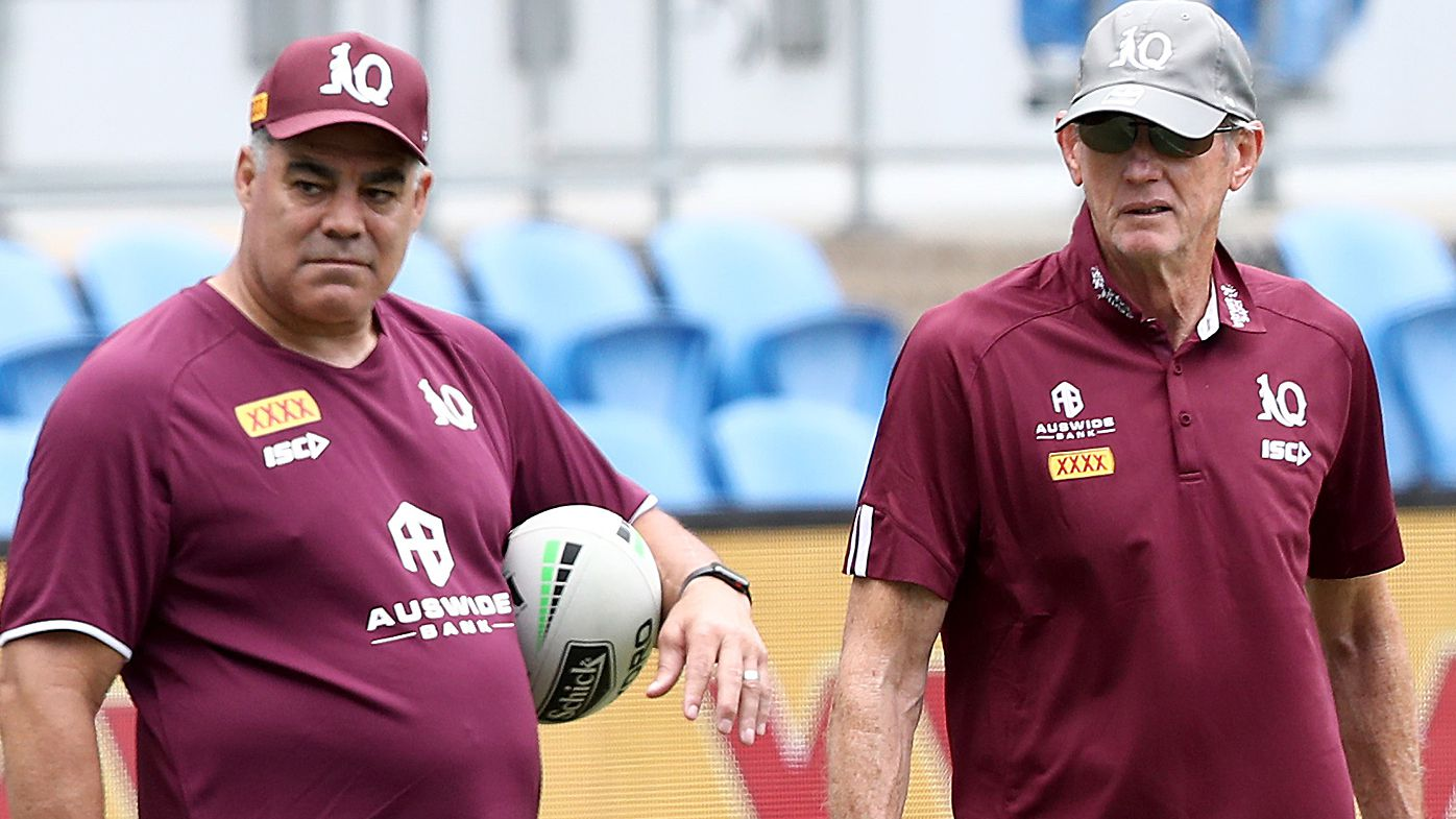 Maroons assistant coach Mal Meninga and coach Wayne Bennett