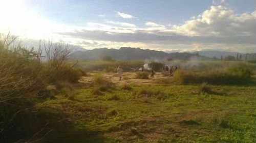 The helicopters went to ground in a remote part of northern Argentina (Twitter/@lariojagabriel)