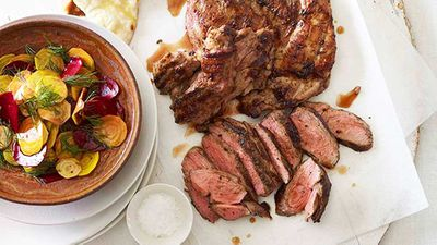"Recipe: <a href=""http://kitchen.nine.com.au/2016/05/16/18/05/butterflied-lamb-leg-with-patzaria-salata"" target=""_top"">Butterflied lamb leg with patzaria salata (40 minutes)</a>"