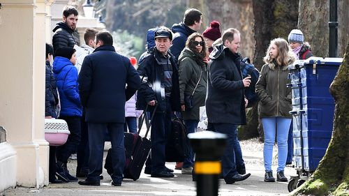 Russian diplomats expelled from the UK by Prime Minister Theresa May yesterday left the country. Picture: AAP.