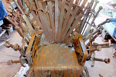 """<P>It is an impressive replica of the TV show's throne but will not be identical, Mr Whitehead said. For starters, there are no dragons to melt down a collection of weapons seized from defeated armies. </P> <P>Mr Whitehead said he had to make his swords thin enough to weave together and also made the seat of his throne smooth so that it was comfortable to sit on. </P> <P>""""I thought if I'm building this it's got to be bloody comfortable (and) it is very comfortable."""" </P> <P></P>"""