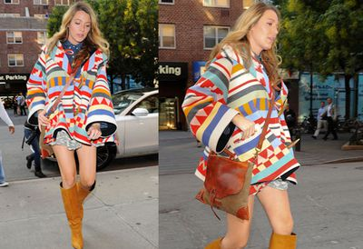 Blake, Pocahantas called. She wants her style back. No, seriously, we think Blake's Native American-inspired look is adorable.